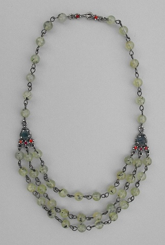 Apatite, Sapphire, Ruby and Green Stone Necklace