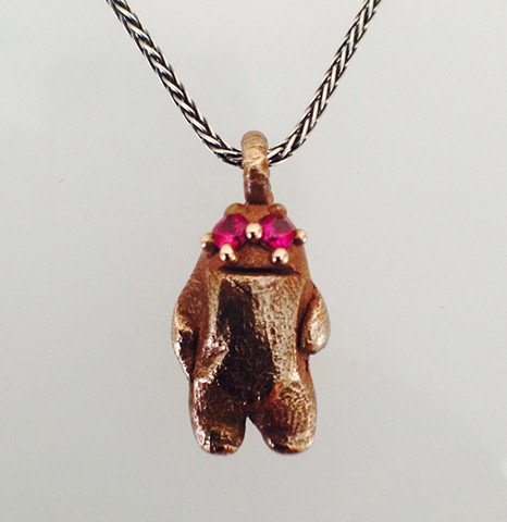 Sasquatch Pendant on Sterling Wheat Chain
