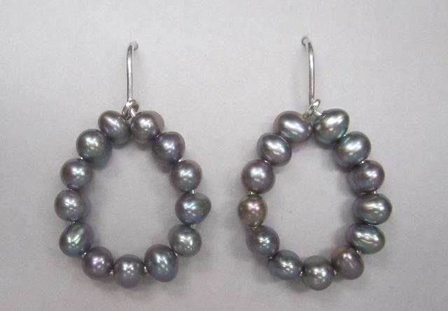 Grey Pearl Drop Earrings