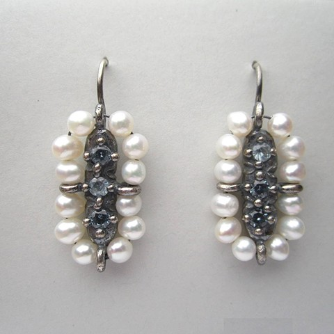 Pearl Surround Earrings with Blue Stones