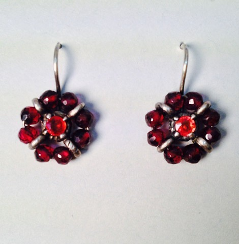 Surround Earrings with Garnets and Sapphires