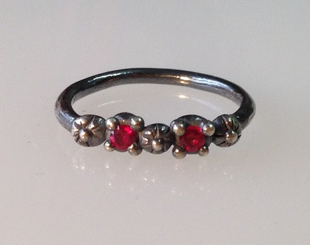 Sterling and Lab Grown Ruby Ring