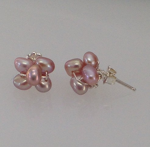 Pink Pearl Cluster Post Earrings