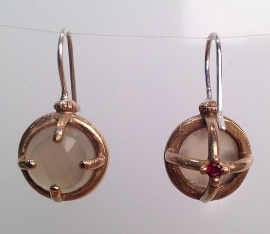 Rose Cut Moonstone Cage Earrings