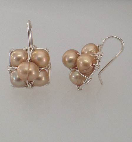 Champagne Pearl Stacked Hanging Earrings