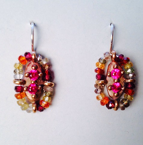 Surround Earrings with Lab Grown Rubies and Multi-colored Stones