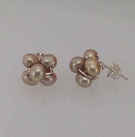 Champagne Pearl Cluster Post Earrings