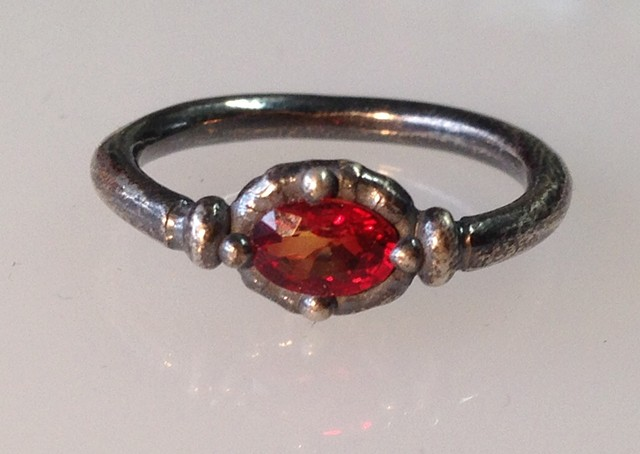 Sterling and Orange Sapphire Ring