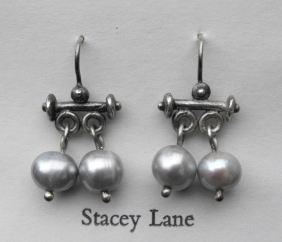 Roman Trembling Earrings with Grey Pearls
