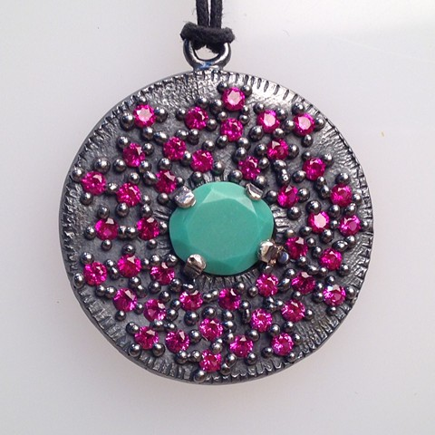 Encrusted Medallion in Sterling with Lab Grown Rubies and Turquoise