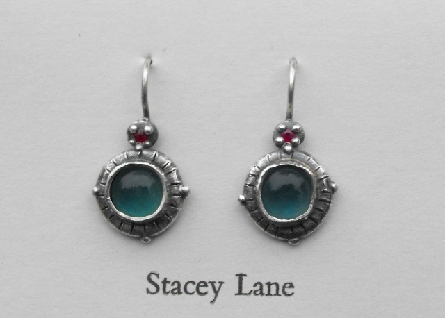 Ruby and Apatite Cabachon Earrings