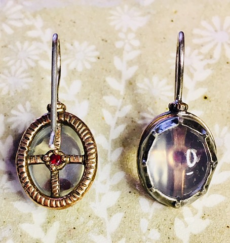 Reliquary Earrings with Quartz Cabochons