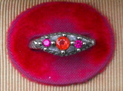 Vesica Piscis Eye Ring with Ruby and Sapphire