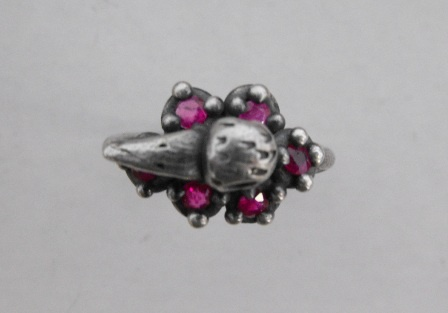 Duck Ring with Ruby Ruffle - Top View