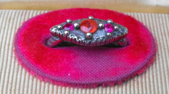 Vesica Piscis Eye Ring with Ruby and Sapphire Side View