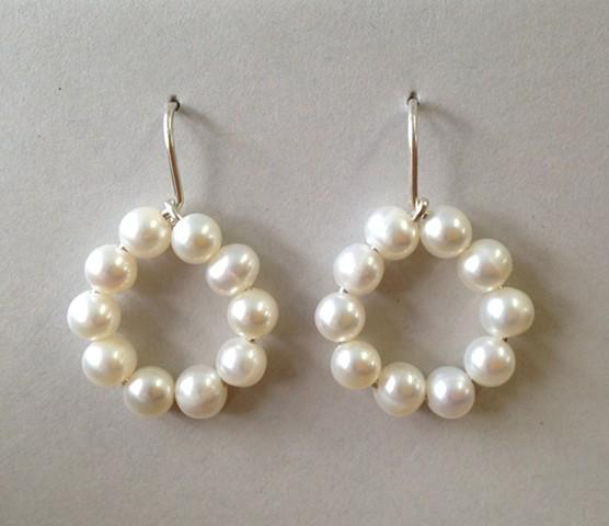 White Pearl Open Loop Earrings
