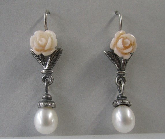 Bouquet and Pearl Earrings