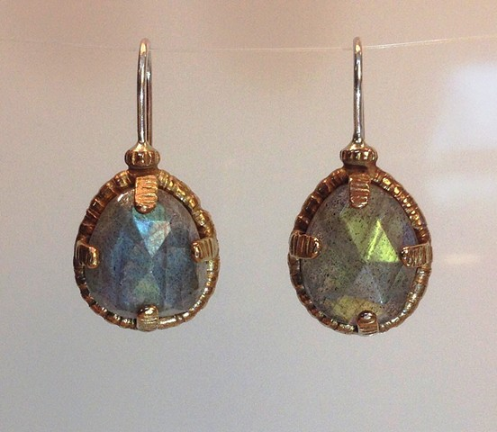 earrings, labradorite, sterling, cast,