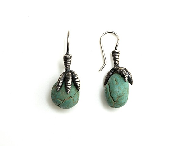 Claw and Faience Earrings