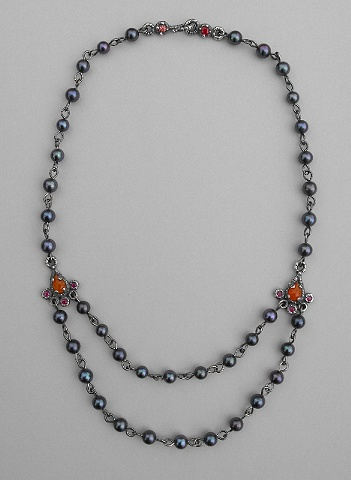 Grey Pearl with Teardrop Carnelion and Sapphire Necklace