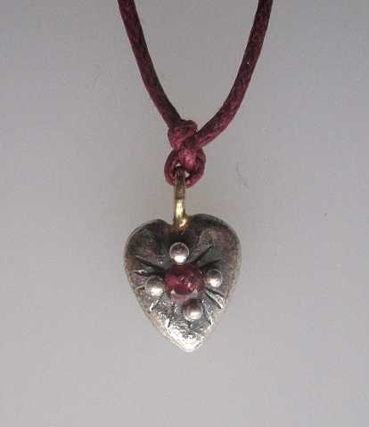 Small Heart Pendant with Ruby and 14k Loop