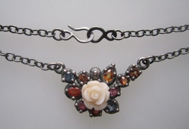Encrusted Necklace with Sapphires and Coral Rose