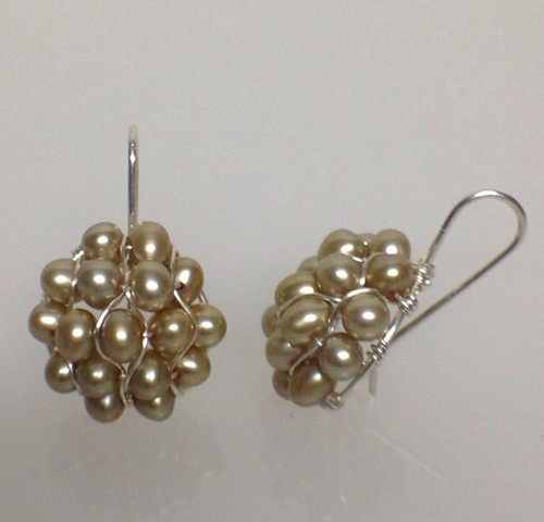 Pompeiian Champagne Pearl Earrings