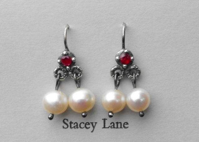 Ruby Trembling Earrings with White Pearls