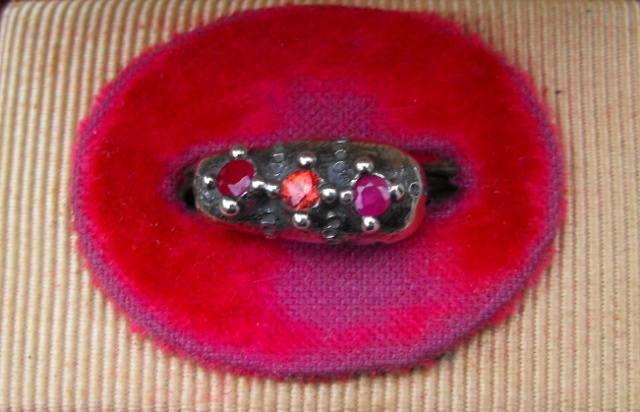 Loaf Ring with Rubies and Sapphire