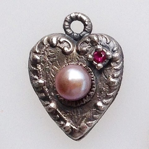 Heart Pendant with Ruby and Pearl