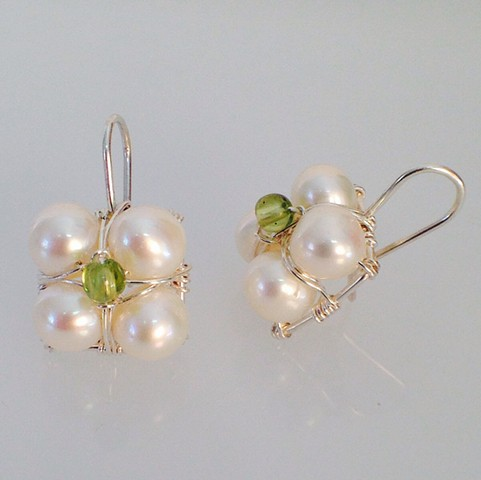 White Pearl and Peridot Stacked Hanging Earrings