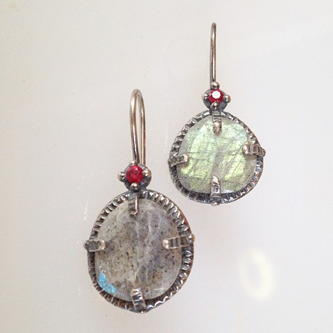 Labradorite, Ruby and Sterling Earrings