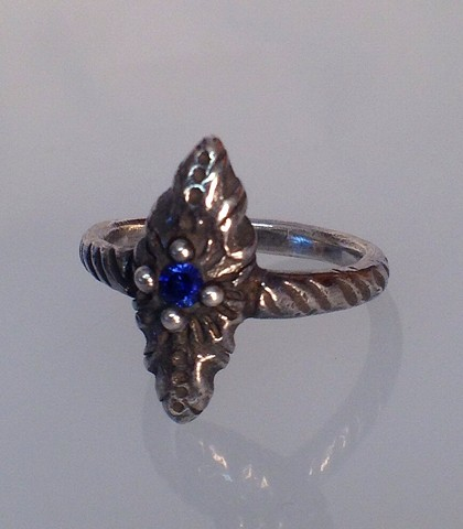 Sterling Vesica Ring with Blue Stone