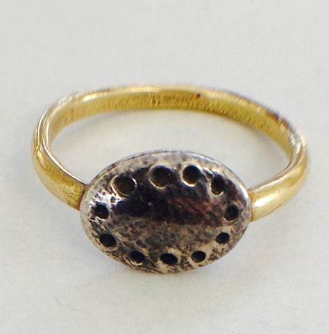 Dotted Silver Signet with Gold Band