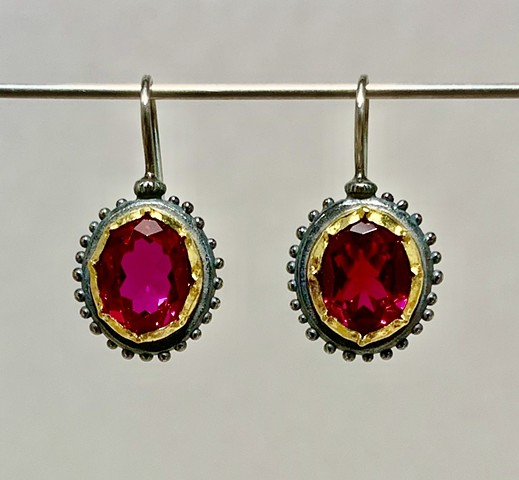 Georgian Earrings with Rubies set in 22k Gold