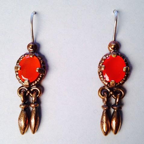 Fire Opal Trembling Earrings