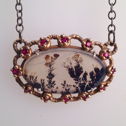 Dendritic Stone Necklace with Lab Grown Garnets