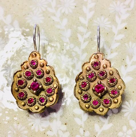 Encrusted Teardrop Earrings in Bronze