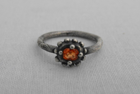 Dotted Ring with Orange Sapphire