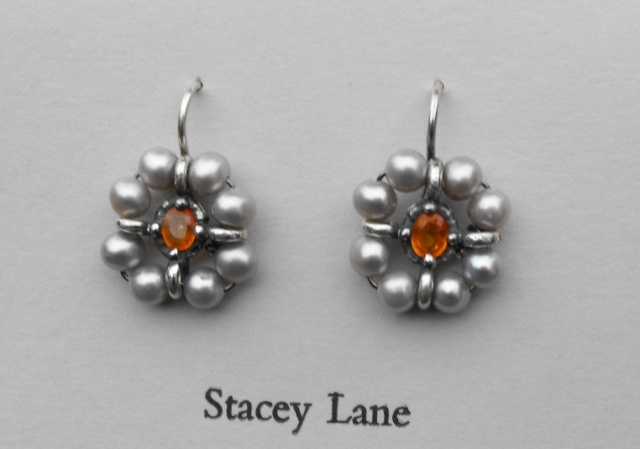 Orange Sapphire and Grey Pearl Surround Earrings