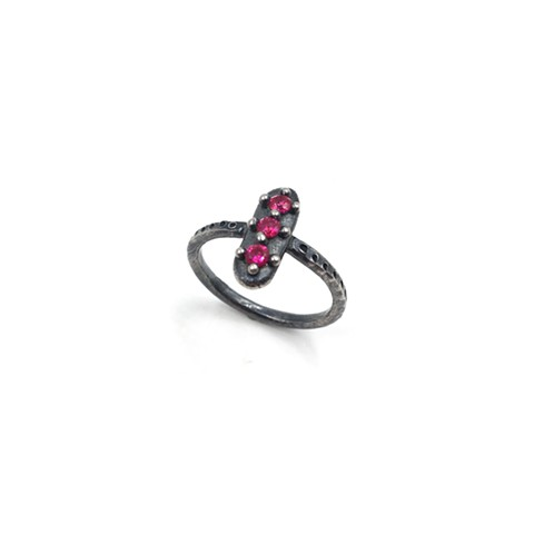 Lozenge Ring in Sterling with Red Stones