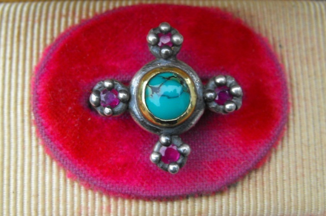 Turquoise and Ruby Ring