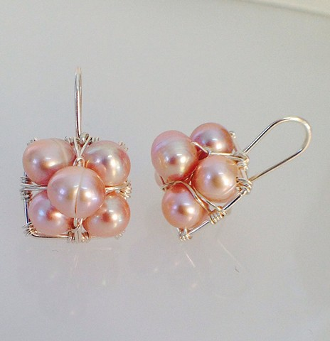 Pink Pearl Stacked Hanging Earrings