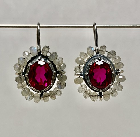 Surround Earrings with Georgian Set Rubies and Labradorite