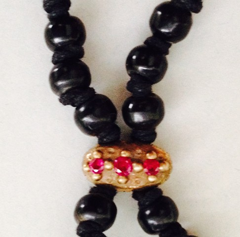 Detail of Black Resin Bead Necklace