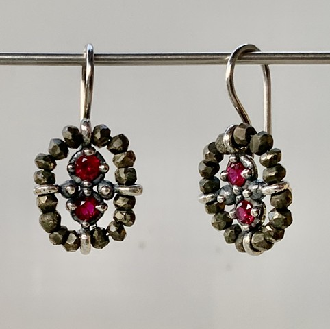 Pyrite and Lab Grown Ruby Surround Earrings