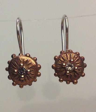 Bronze, disk, dots, sterling, cast, alexandrite, earrings