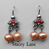 Orange Sapphire and Pink Pearl Trembling Earrings