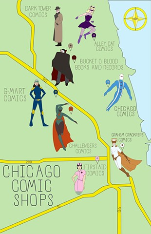 Chicago Comic Book Stores Map