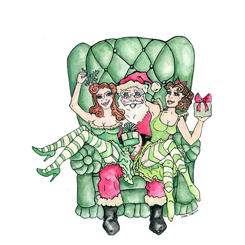 Illustration for Peek a Boo Diva's Christmas card 2010.